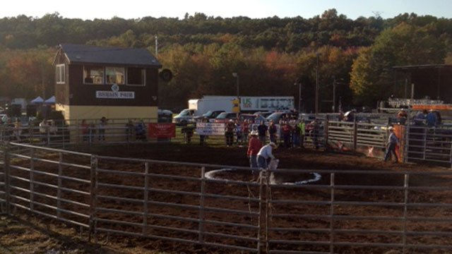 © The arena at the Berlin Fairgrounds before a bull hit a woman Friday evening.