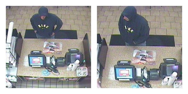 © Milford police provided this photo of the suspect during the Dunkin Donuts robbery.