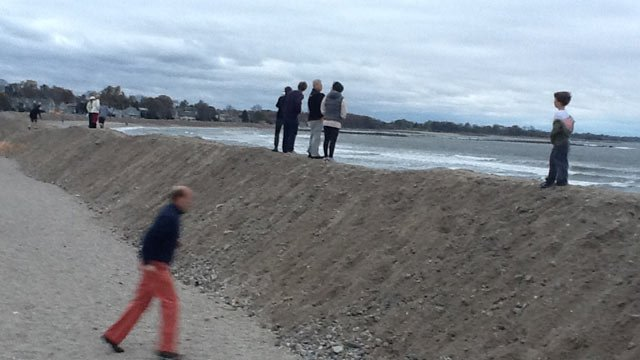 © Town of Westport scraped the beach to make this wall of sand.