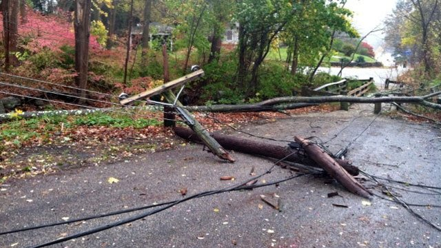 © Power lines and tree branches down in Middle Haddam.