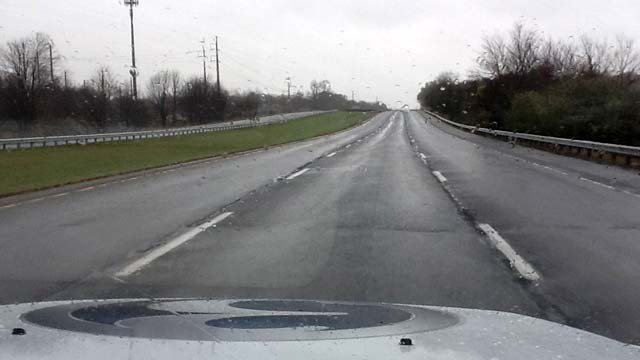 © News crews were the only people on the highways Monday afternoon.