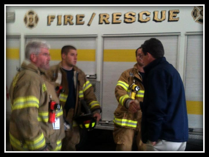 Gov. Dannel Malloy offers his condolences to members of the Easton Volunteer Fire Department after a firefighter was killed Monday during Hurricane Sandy.