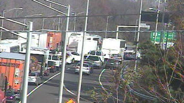 Traffic on I-95 backed up after it was closed in Milford due to a brush fire