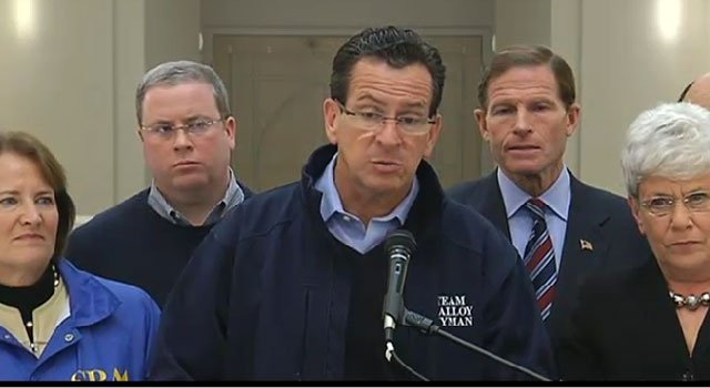 © Gov. Dannel Malloy speaks to media at press conference Saturday afternoon at the FEMA Disaster Recovery Center at Housatonic Community College in Bridgeport.
