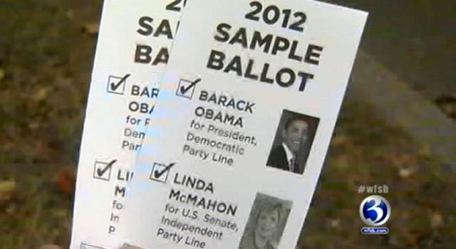 © The sample ballot handed out by Linda McMahon supporters.