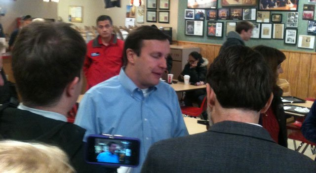 © U.S. Sen. Chris Murphy thanks supporters at Capitol Lunch in New Britain where he has eaten after every election.
