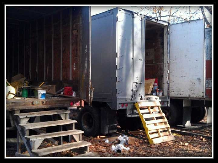 Here is a photo of the trailers that were broken into.