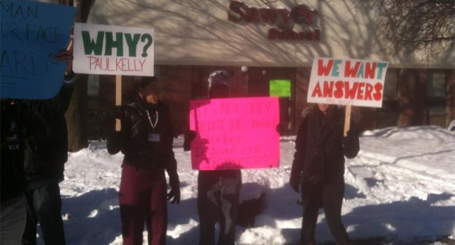 © Students and teachers from Sawyer School campuses held a rally on Jan. 2.