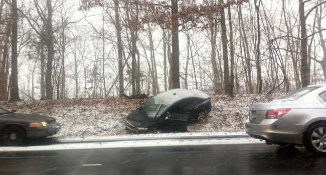 © State police are investigating a crash on Interstate 91 near the I-691 merger. (Photo provided by WFSB viewer)