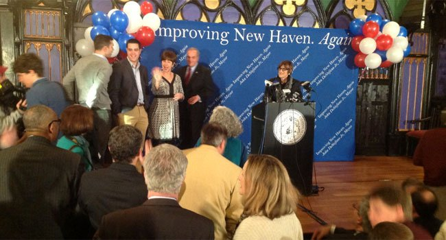 © New Haven Mayor John DeStefano joined by his family and U.S. Rep. Rosa DeLauro.
