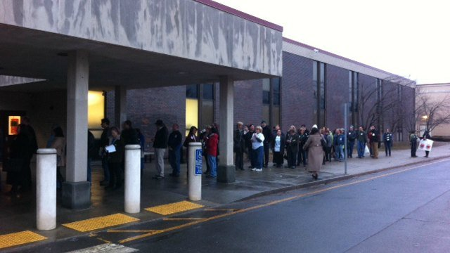 Line formed early outside Newtown High School