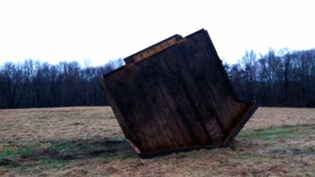 A barn flipped over in the strong winds