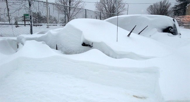 © Cars buried under snow in Branford.