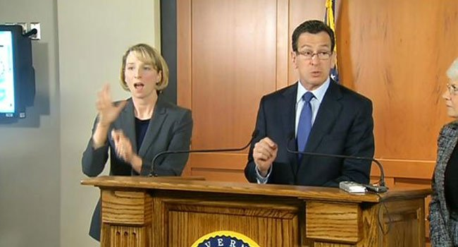 © Gov. Dannel P. Malloy speaks during a press conference on Blizzard Charlotte Thursday night.