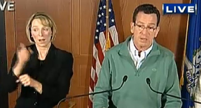 ©  Gov. Dannel P. Malloy updates public at evening press conference.