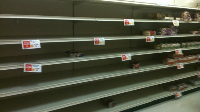 © This is what the water aisle at the ShopRite in East Hartford looks like.