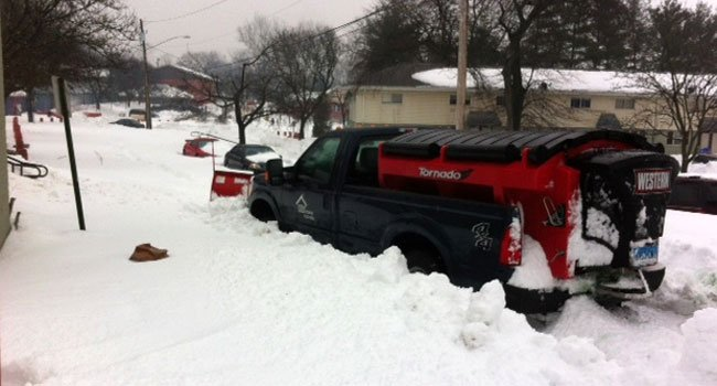 © A part of Richard Street in NB may have to stay unplowed after this plow got stuck.