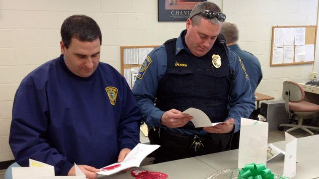 First responders read thank you notes from Sandy Hook students