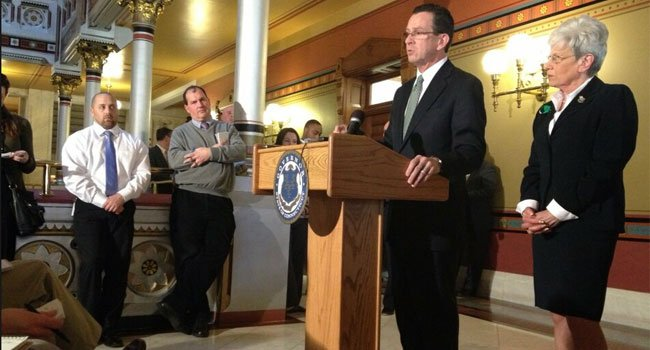Gov. Dannel Malloy speaks during the State of the State address in Jan.