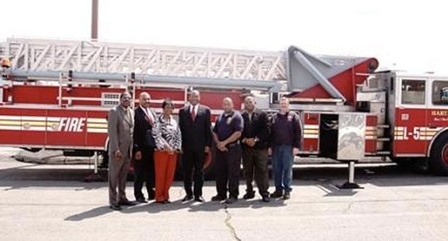 © The first fire truck sent to Jamaica from Hartford.