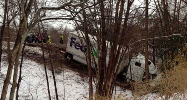 ? A tractor trailer went down an embankment on Interstate 91 south near exit 13.