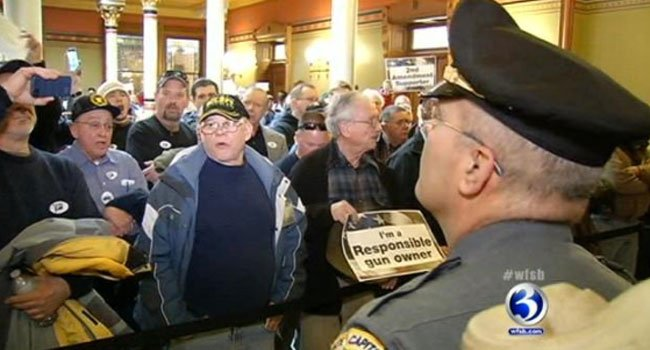?  Gun rights advocates converged at the State Capitol in Hartford Wednesday.