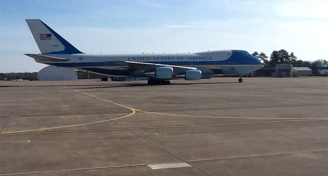 ? Air Force One lands at Bradley International Airport Monday afternoon.