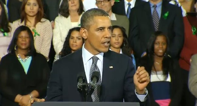 ? President Barack Obama speaks to a packed crowd at the University of Hartford Monday evening.
