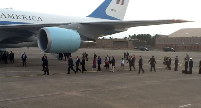President Barack Obama leaves for Washington D.C. with some of the families from Newtown.