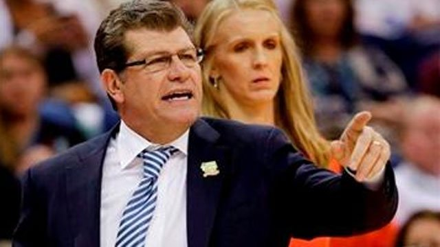? (AP Photo/Dave Martin). Connecticut head coach Geno Auriemma directs his team in the first half against Notre Dame at a women's NCAA Final Four college basketball tournament semifinal, Sunday, April 7, 2013, in New Orleans.