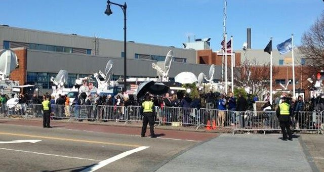 ? The media is being held a across the street from the Cathedral of the Holy Cross where President Barrack Obama.