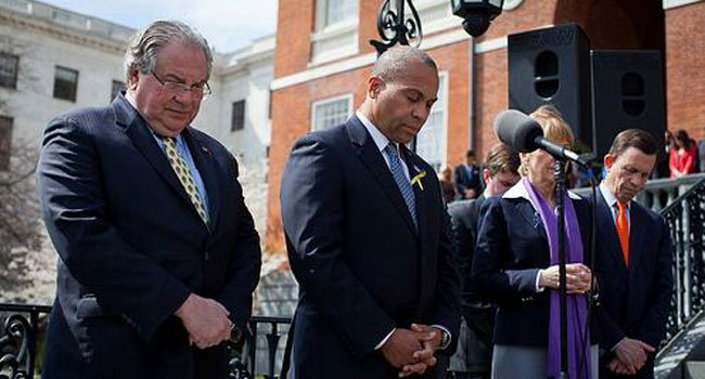 The following photo is from Massachusetts Gov. Deval Patrick's Twitter account.