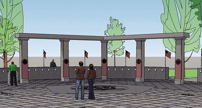 Street-level view of plans for new Veterans Memorial