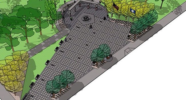 Bird's eye view of plan for new Veterans Memorial