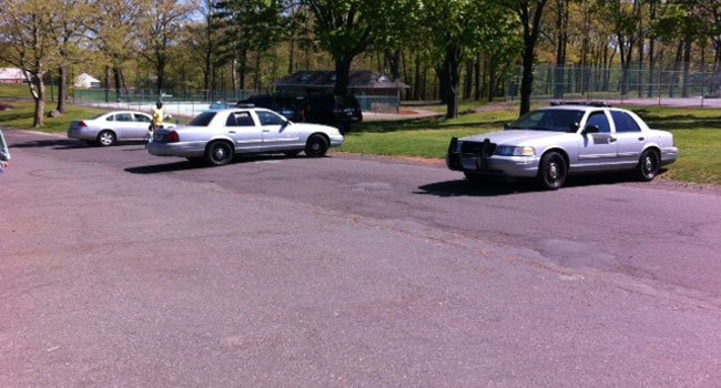 Four state police cruisers were seen at Hubbard Park in Meriden on Monday afternoon.