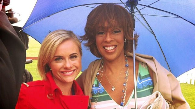 WFSB alum Gayle King poses with current Eyewitness News reporter Kate Rayner.