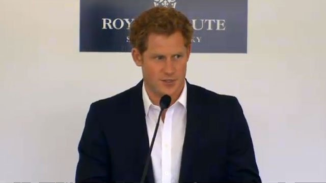 Prince Harry speaks before charity polo match in Greenwich.