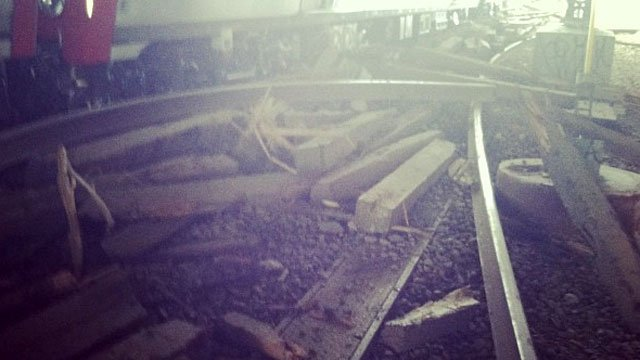 Major train derailment near the Fairfield Metro-North station Friday night. The photo was taken by Harold Bridgeforth.
