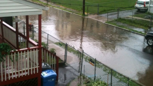 Flooding occurred on Elliott Place in Hartford after the heavy rain fall.