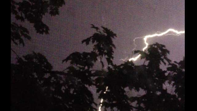 Lightning was spotted in Enfield Wednesday night.