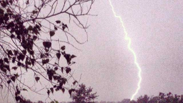 Lightning was spotted in Granby Wednesday night.