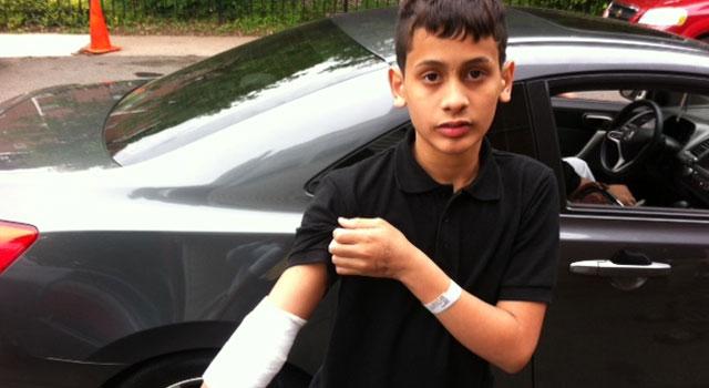Felix Tosado shows his injury.