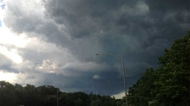 Storm clouds were spotted moving along Route 72.