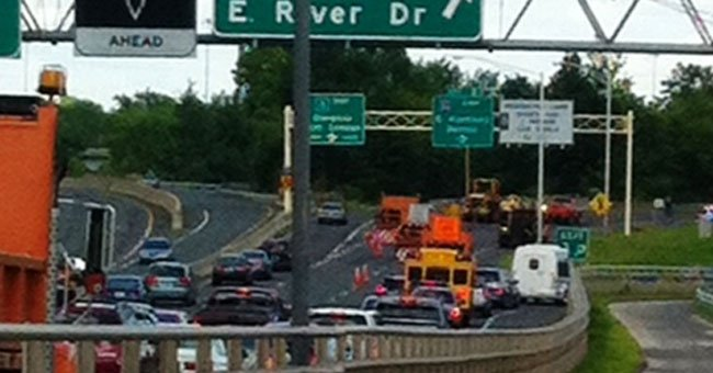 Traffic is backed up on Route 2 near the East Hartford city line.