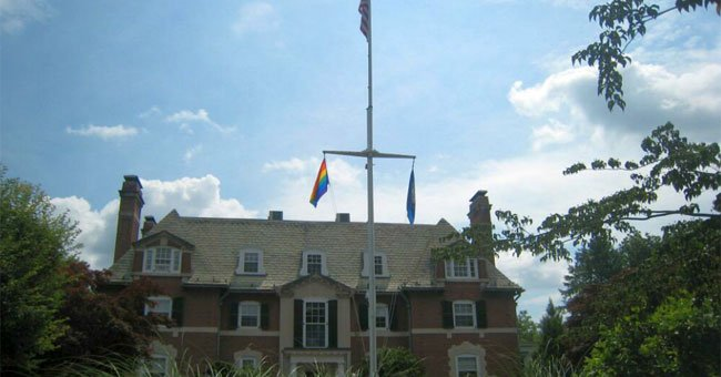Pride flag is flying at the Governor's Residence in recognition of today's SCOTUS decision. (Photo credit Governor's Twitter Account)