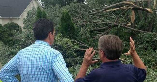 Gov. Dannel P. Malloy meets with Windsor Locks First Selectman Steven Wawruck to discus damage left from Monday's tornado (Photo Courtesy: Governor's Office)