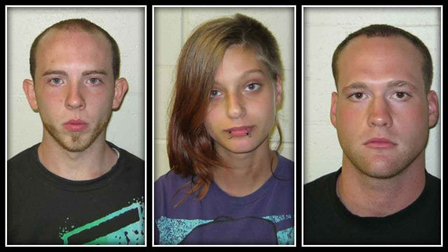 Danny Vinal, 21, of Moosup, Harley-Jane Davidson, 19, of Danielson & Mark Reasoner, 22, of Moosup