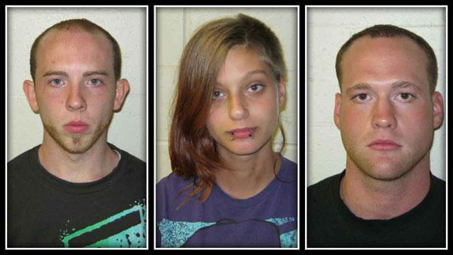 Danny Vinal, 21, of Moosup, Harley-Jane Davidson, 19, of Danielson & Mark Reasoner, 22, of Moosup