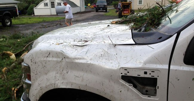A truck was damaged by the high winds and falling tree branches caused by the tornado Wednesday.