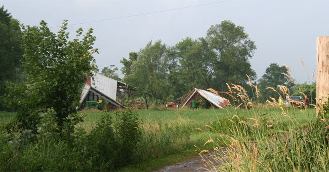 Barns in Coventry were damaged by the high winds created by the EF1 tornado Wednesday.